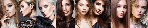 Fototapeta collage of beautiful women with differnt color Hai obraz