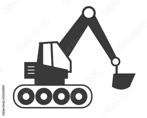 Billede på lærred Bagger icon vector illustration - Baustelle
