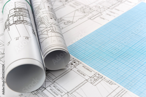 Fotografía Technical drawing with millimeter paper and drawing tools