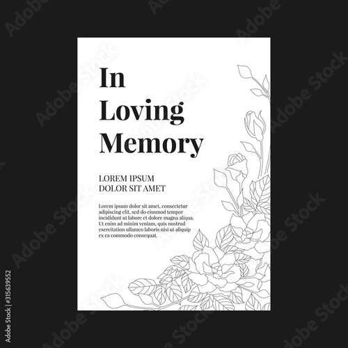 Obraz Funeral banner - In loving memory text and simple text on A4 white paper with abstract line rose texture vector design - fototapety do salonu