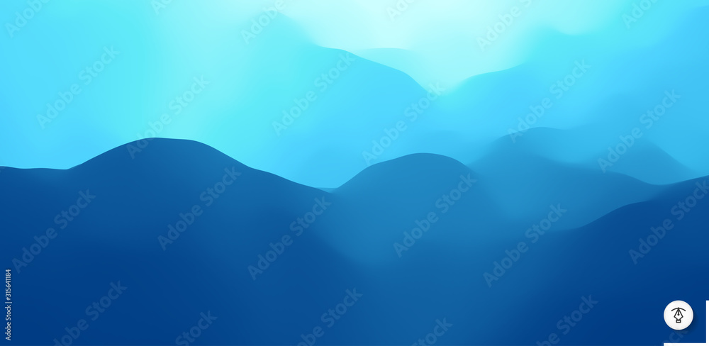 Fototapeta Blue abstract background. Realistic landscape with waves. Cover design template. 3d vector illustration.