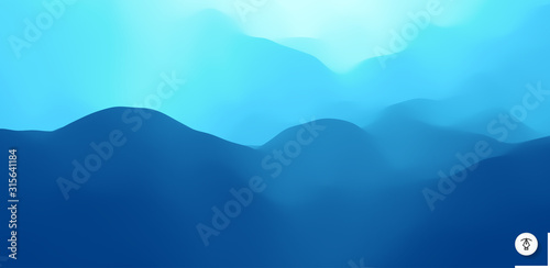 Obraz Blue abstract background. Realistic landscape with waves. Cover design template. 3d vector illustration. - fototapety do salonu
