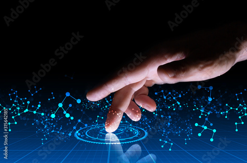 mano, dito, tablet, informatica Wallpaper Mural