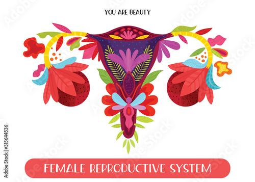 Fényképezés Beauty female reproductive system with flowers