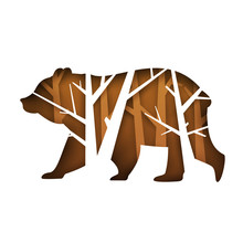 Silhouette Of Bear With Tree Branches Isolated On White Background In Paper Cut Trendy Craft Cartoon Style. Minimalistic Creative Modern Design For Branding Cover, Poster. Vector Illustration.