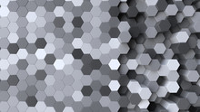 Grayscale Background With Hexagon Pattern - 3D Rendering
