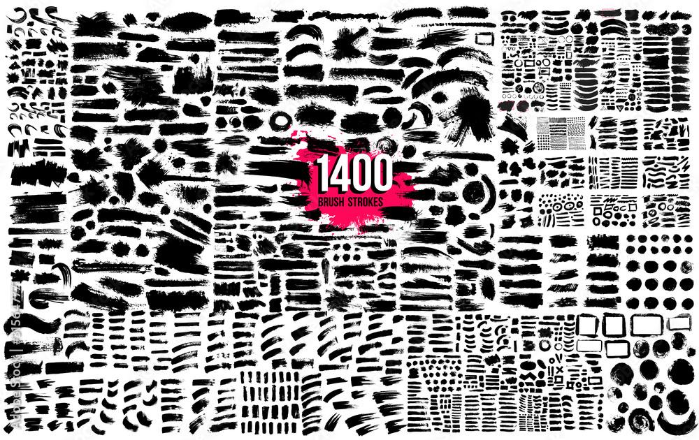 Fototapeta Super collection of 1400 black paint, ink brush strokes bundle, brushes, lines. Dirty artistic design elements. Circle frames. Round grunge design elements. Vector paintbrush illustration.