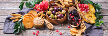 Tu Bishvat Holiday Symbols - Dried Fruits, Pomegranate, Barley, Wheat