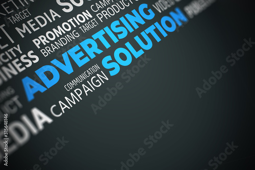 Advertising Solution - Word Cloud with Copy Space. Blue on Black Illustration. #315648146
