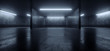 Leinwanddruck Bild - Car Parking Sci Fi Lightning Laser Led Grunge Modern Futuristic Cement Concrete Grunge Wide Huge Warehouse Garage Tunnel Room Underground 3D Rendering