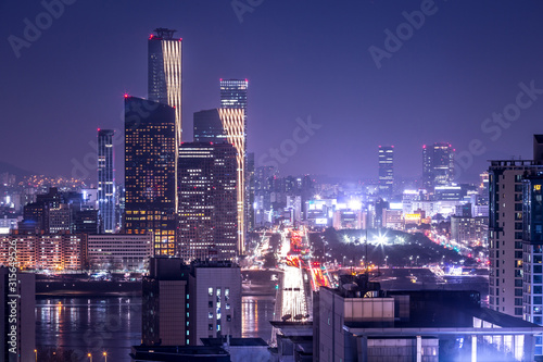 seoul city and skyscraper, yeouido at night, south korea. Canvas Print