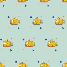 Flat Color Fun Fish Pattern Wi...