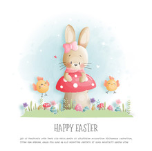 Easter Card With Cute Bunny And Chicken In Paper Cut Style. Vector Illustration