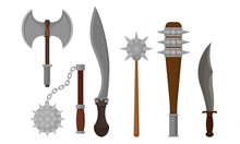 Medieval Weapons Vector Set. A...