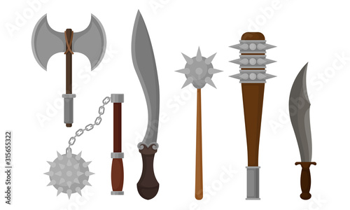 Fototapeta Medieval Weapons Vector Set. Ancient Metal Swords for Protection obraz