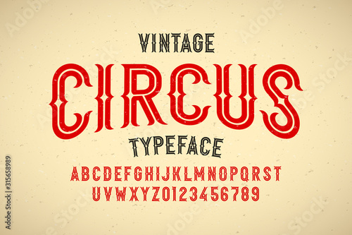Fotografía Vintage style Circus typeface, alphabet letters and numbers