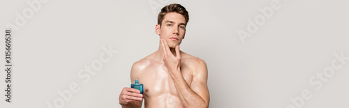 sexy man with muscular torso applying aftershave on face isolated on grey, panor Canvas Print