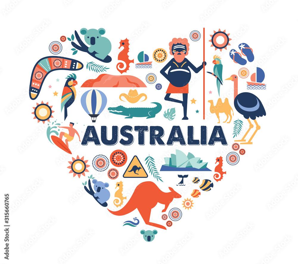 Fototapeta Australia illustration of heart with many icons, symbols. Vector design