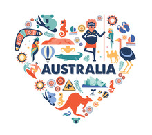 Australia Illustration Of Heart With Many Icons, Symbols. Vector Design