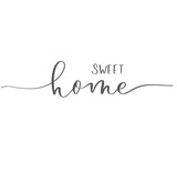 Sweet home. Modern Calligraphy inscription interior card.