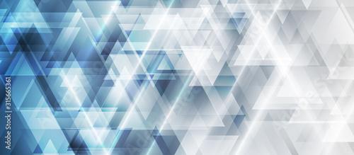 Niebieska i szara technologia geometryczne low poly streszczenie tło. Wieloboczne sztuka cyfrowa wektor wzór