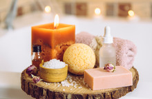 Home Spa Products On Wooden Di...
