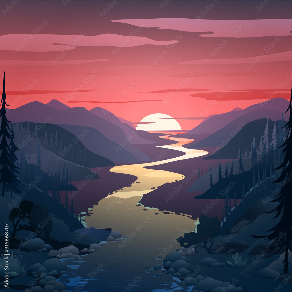 Fototapeta Background with landscape. The river flows from afar, mountains and spruce forest. Background with dawn,