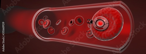 red blood with micro robots in artery ,Blood vessel sliced with erythrocytes,3d render Fototapet