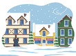 Town with old buildings and architecture in winter. Cityscape with snowing weather and bad conditions. Snowfall and wind in city. Roads covered with snow. Seasonal views, vector in flat style