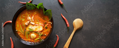 Photo Panoramic banner for web, Thai food background concept