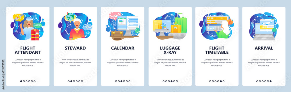 Fototapeta Air travel icons, flight attendant, timetable, arrival, luggage, security. Mobile app onboarding screens. Menu vector banner template for website and mobile development. Web site design illustration