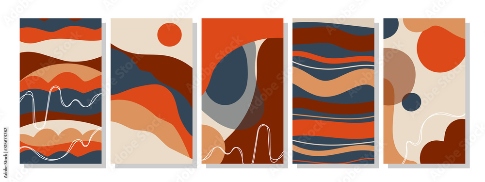 Set of vertical abstract backgrounds or card templates in modern colors, in popular art style <span>plik: #315673762   autor: CreativeUniverse</span>