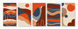 Set of vertical abstract backgrounds or card templates in modern colors, in popular art style