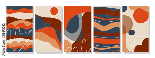 Fototapeta Set of vertical abstract backgrounds or card templates in modern colors, in popular art style obraz