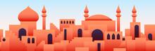 Arabic City Panorama In Orange...
