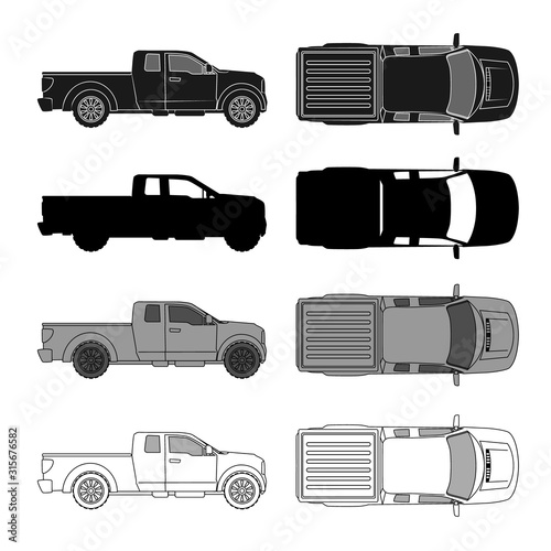 car top view sketch contour shape and side pickup , for parking scheme or architecture presentation , actual proportion size фототапет