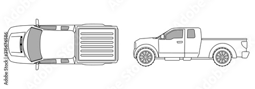 car top view sketch contour shape and side pickup , for parking scheme or architecture presentation , actual proportion size Canvas Print