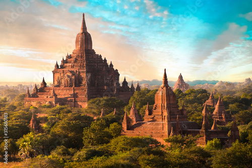 Sunset over Sulamani Temple in Bagan in Myanmar Wallpaper Mural