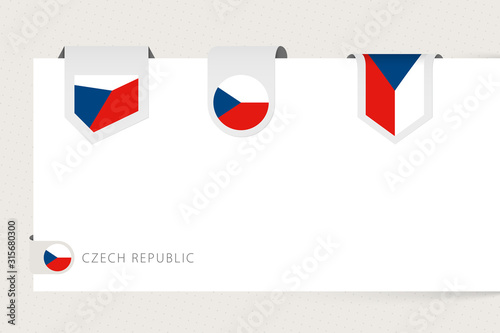 Photo  Label flag collection of Czech Republic in different shape