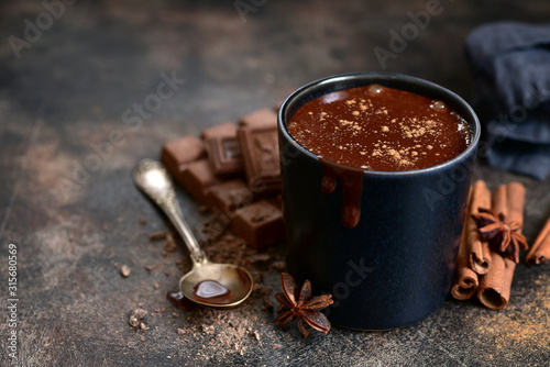 Fototapeta Delicious winter drink spicy hot chocolate with cinnamon and anise. obraz