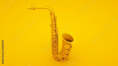Carta da parati Saxophone on yellow background
