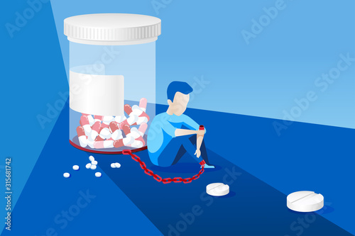Vector of a sick man with painkiller addiction Canvas Print