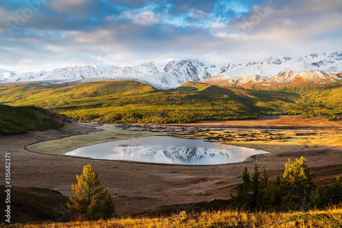 North Chuysky Range and Lake Dzhangyskol at sunrise Canvas Print