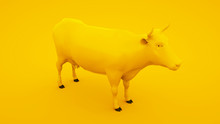 Cow Isolated On Yellow Background. Minimal Idea Concept, 3d Illustration
