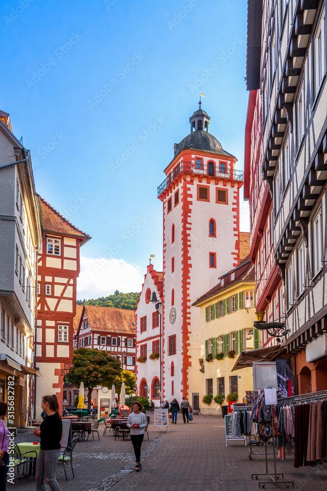 Fototapeta Marktplatz und Rathaus, Mosbach, Deutschland
