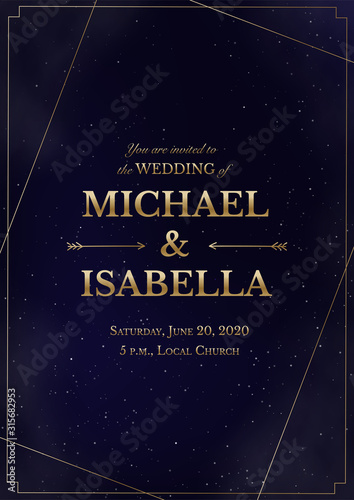 Wedding invitation vertical card on magic night dark blue sky with sparkling stars and nebula. Vector golden shiny glowing lettering in creative frame. Luxury elegant navy blue template. Wall mural