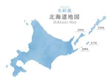 水彩風 北海道地図