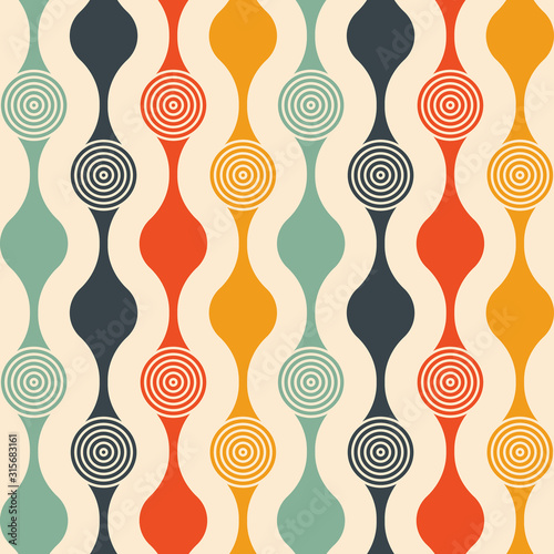 Retro seamless pattern - colorful nostalgic background design with circles Wallpaper Mural