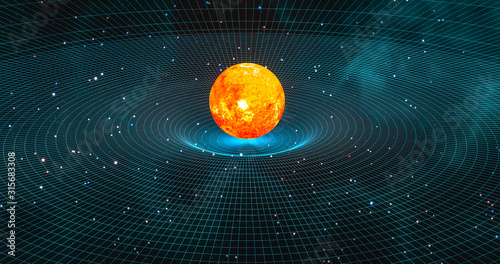 Sun-like star creating gravitational waves in space-time continuum 3d rendering Canvas Print