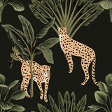 Tropical night vintage cheetah and palm tree floral seamless pattern dark background. Exotic jungle wallpaper. - 315683911